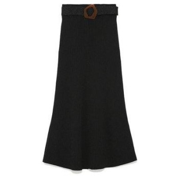 リリーブラウン Lily Brown リブニットスカート (ブラック)