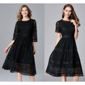 ワンピース 大きいサイズ 黒 ドレス 大きいサイズ 結婚式 レース ミモレ丈 半袖 七分袖 袖あり 20代 30代 Xライン 透け感 シースルー 着