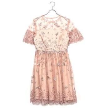 リリーブラウン Lily Brown フラワー刺繍ワンピース (ピンク)