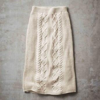 綿混ニットのケーブル編みロングスカート〈アイボリー〉 IEDIT[イディット] フェリシモ FELISSIMO【送料無料】