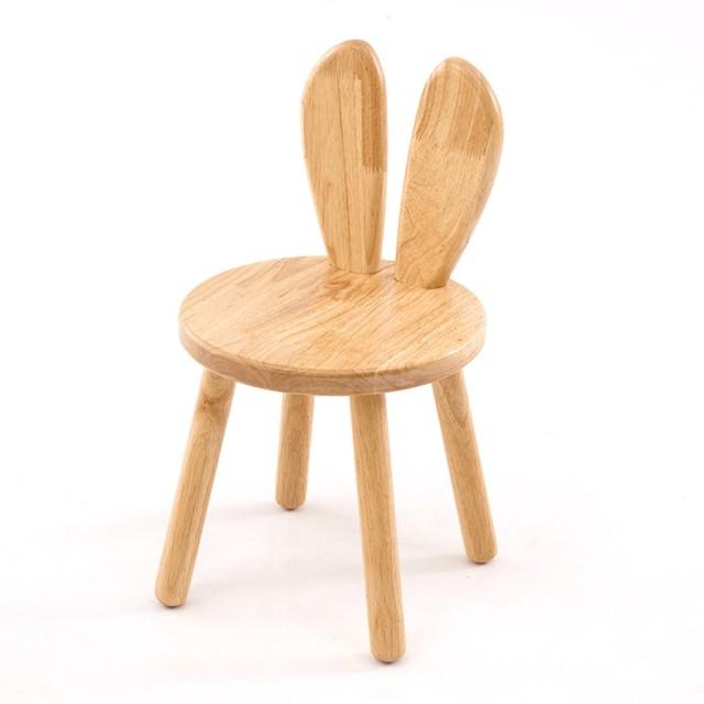 HB.YE手作り ソリッドウッドの木製スツール ラウンドスツール ウッド 小さい椅子 ウサギ椅子 子供用 玄関 ダイニングチェア 幼稚園、 ベビールーム、子供の部屋飾り クリエイティブ 勉強用 耐荷重150kg (ウサギB)
