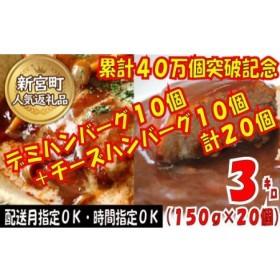 累計40万個突破記念!どーんと3㎏!デミ&チーズハンバーグセット【150g×20個】