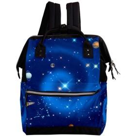 CHENYINAN リュックサック リュック 学生 デイバッグ レディース 宇宙柄 星 マザーズバッグ 大容量 がま口 バックパック メンズ 通勤通学 かわいい おしゃれ