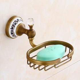 アンティーク真鍮ブラッシュ仕上げの浴室のハードウェアを設定クリスタルデコレーショントイレットペーパーホルダー壁掛けタオルリングバー、ゴールド,Soapholder