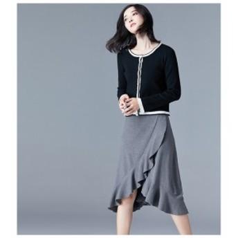 フリル使いが素敵な膝丈スカート 可愛い Aライン ニット スカート