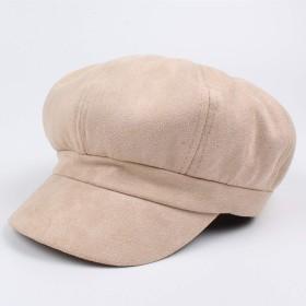 ZGQA 帽子は冬のスエード8面体キャップファッションベレー帽Distaffキャップ秋 ベレー帽 (Color : Khaki, Size : M)