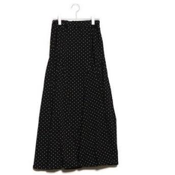 ラナン Ranan 裾切替フレアーマキシスカート (ドットガラ)