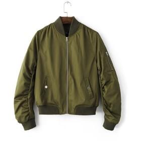 (リッチココ)RICHCOCO MA-1 レディース アウター 薄手 ジャケット リブ付きブルゾンミリタリージャケット L グリーン