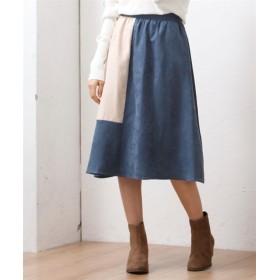 フェイクスエードカラー切替フレアスカート (大きいサイズレディース)スカート, plus size skirts, 裙子