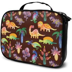 収納袋恐竜と植物化粧品袋耐摩耗性軽量ポータブル高品質大容量旅行ポーチバスルームポーチ旅行小物整理約8×25×19cm