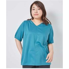 eur3 【大きいサイズ】タックデザインプルオーバー Tシャツ・カットソー,グリーン
