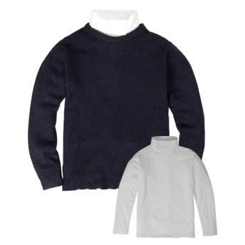 2点セット(5GGループヤーン長袖セーター+ハイネックTシャツ) (ニット・セーター)Sweater