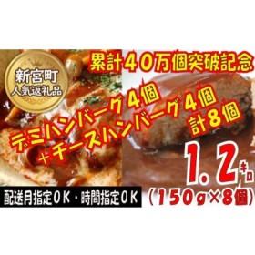 累計40万個突破記念!お試し1.2㎏!デミ&チーズハンバーグセット【150g×8個】