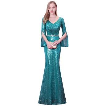 女性のイブニングドレスロングウェディングドレススパンコールスパークルパーティーイブニングカクテルマーメイドVネック (Color : Blue, Size : 14)