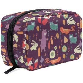 CHTT フォックスパターン 大容量化粧ポーチ コスメバッグ ファスナー シンプル 旅行 機能的 小物入れ 化粧道具