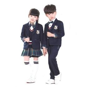 HIMOE キッズフォーマル 男の子 女の子 スーツ 黒 子供 韓国子供服 卒業式 制服 人気 ピアノ 発表会 入学式 卒園式 上下セット セットアップ スカートスーツ 4点セット(160cm,女の子)
