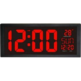 掛け時計 ウォールクロック電気目覚まし時計ベッドルーム重い枕木大型デジタル表示温度日 置時計