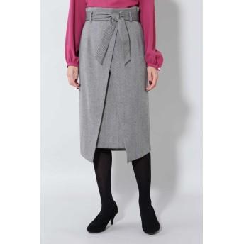 BOSCH 《B ability》ヘリンボーンスリットラップスカート ひざ丈スカート,ブラックヘリンボーン1