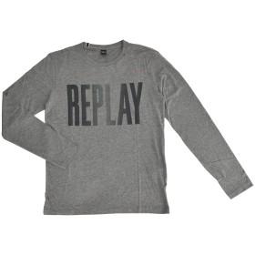 リプレイ (REPLAY) グレー 縦長ロゴプリント 長袖クルーネックカットソー 正規取扱店 Mサイズ