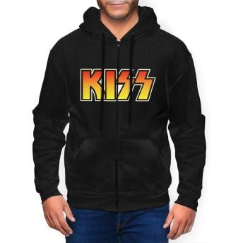 メンズ KISS キッスBand ジャケット スポーツ パーカー防風 アウトドア ジャケット 長袖 ゆったり 男女兼用 スウェット ジッパー、 フード、ポケット付き 軽量 冬