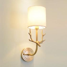 ウォールランプ,シンプルなベッドサイドランプ完全な銅の枝角壁ランプリビングルームの寝室の研究のバルコニー3 C証明用光源:E14