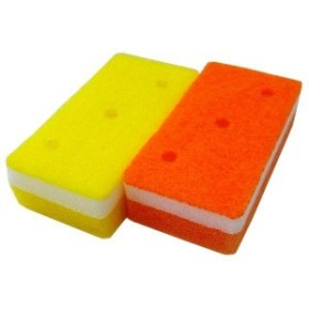 (まとめ)オーエ 泡キュット ソフトスポンジ オレンジ、イエロー 2個入り PU-50980 (食器用スポンジ) 【48個セット】