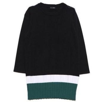 ラナン Ranan 裾プリーツ風ニットチュニック (ブラック/グリーン)