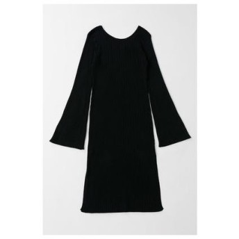 マウジー moussy FLARE SLEEVE LONG KNIT (ブラック)