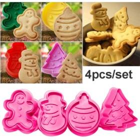 ACHICOO クッキー型 クリスマス 4個/セット キッチン クッキービスケット 金型 シリコン ベーキング カッター 金型