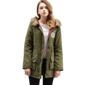 AGOWOO ダウンジャケット レディース 綿ジャケット 冬用 ファー付き アウター フード 暖かい コート