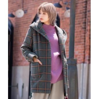 お家で洗える!フリースフーデッドコート (大きいサイズレディース)コート, plus size coat