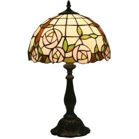 カラーガラス製テーブルランプ,ヴィンテージナイトスタンドデスクランプ、12インチのベッドサイドライト、ティファニースタイルのステンドグラ