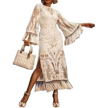 CLAUDIAR 女性のベルスリーブレース刺繍タッセルスプリットドレスパーティードレス 半袖快適なカミングドレス (色 : ホワイト, サイズ : L)