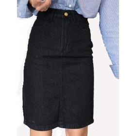 (プライム セント) デニム スカート ポケット 付 ひざ 丈 タイト ブラック ボトムス ベルト ループ 有り レディース (S, デニム 黒)