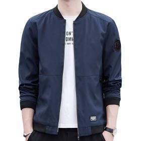 ジャケット メンズ コート 秋冬 カジュアル ブルゾン ジャケット 大きいサイズ 防風 軽量 アウトドア カジュアルジャケット メンズ 服 おしゃれ フライトジャケット 大きいサイズ コート ジッパー (XL, ブルー)