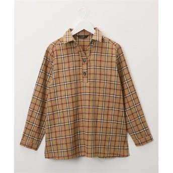 微起毛ネル素材 チェック柄スキッパーシャツチュニック (ブラウス)Blouses, Shirts, 衫, 襯衫