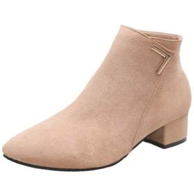 [AJGLJIYER LTD] ブーツ 靴 レディース シューズ 大人 アプリコット 女性用 靴 レディース シンプル チャンキーヒールショートブーツデートスタイル 22.5cm ブーティ ショートブーツ 厚底 身長アップ 着痩せ コンフォート OL ショートブーツ