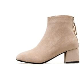 [AJGLJIYER LTD] ブーツ ショート丈 身長アップ レディース 痛くない 歩きやすい 24.0cm ブーツ ローヒール ブーティー 低反発 ファッション ショートブーツ レディース 痛くない 歩きやすい ブーツ カジュアル カーキ色 美脚 靴
