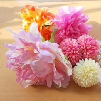 ピオニー、ダリアの花の髪飾りセット