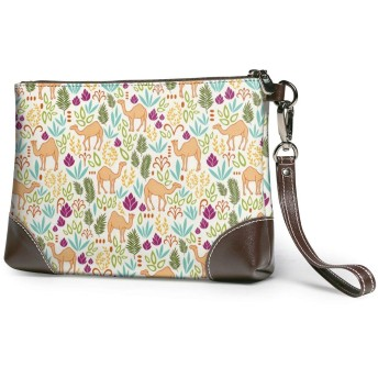 財布 夏の熱帯のラクダ レザークラッチ ボックス 軽量 防水 出張や旅行にを使用できます。