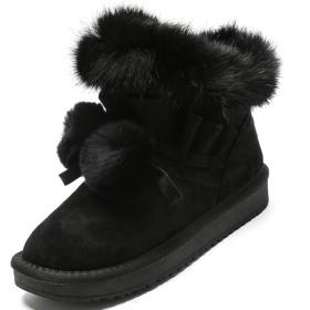 [ヤク] もこもこ レースアップ スノーブーツ レディース 厚底 ムートンブーツ ショート ブーツ スノーブーツ ブラック 綿靴 雪靴 サイドゴア ウィンター 防滑 保暖 裏起毛 冬用 カジュアル アウトドア 25.0cm ウィンター 可愛い 厚手 ミドル丈