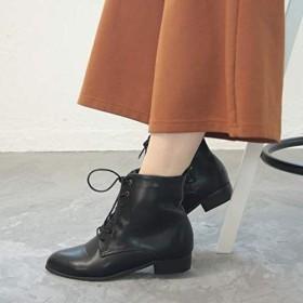 [グランドフルール] 期間限定価格》[S~LL] アーモンドトゥレースアップショートブーツ【ブラック/S(22.5cm)】