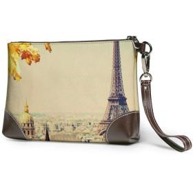 財布 ヴィンテージのパリの町の風景エッフェル塔メープルリーフ レザークラッチ ボックス 軽量 防水 出張や旅行にを使用できます。