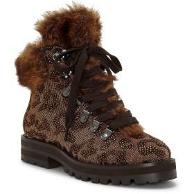 [ジェシカシンプソン] レディース ブーツ&レインブーツ Norina Leopard Rhinestone Faux-Fur Lace- [並行輸入品]