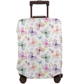 スーツケースカバー カラフルな蝶々 伸縮素材 キャリーバッグ お荷物カバー 傷 汚れ 防塵 出張 旅行 ラゲッジカバー