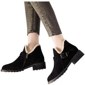 [Sucute-woman] 厚手のベルベットマットブーツイングランド風暖かい綿のブーツ女性の太いヒールリベットアンクルブーツスクエアヘッドシングルブーツカジュアルスノーシューズ (24cm, ブラック)