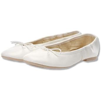 [Kindoyo] ダンス バレエシューズ - レディース パンプス フラット シュー 可愛い 婦人靴, ホワイト, 24.5cm