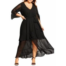 シティーシック CITY CHIC レディース ワンピース マキシ丈 ワンピース・ドレス romantic ruffle maxi dress Black