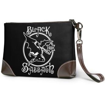 ブラックサバス 男女兼用 クラッチバッグ 高級 本革 レザー パーティーバッグ セカンドバッグ 人気 大容量 ファスナー ストラップ付き