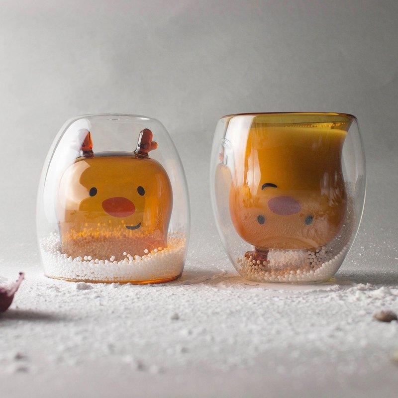 聖誕系列-麋鹿雙層玻璃杯
